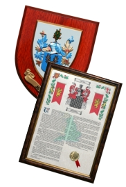 surname history print and coat of arms gifts UK