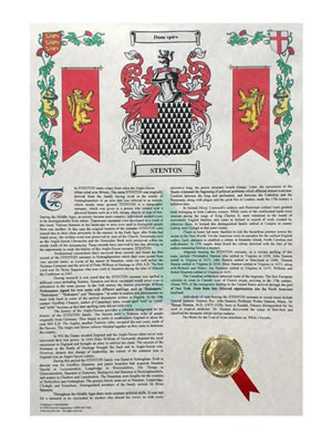 Sample of Surname History Print with Coat of Arms