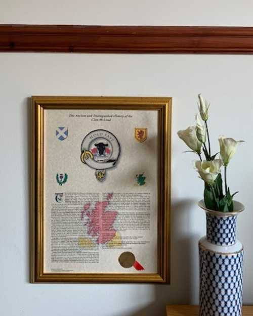 SC002 Scottish NEW Clan History Gold Framed