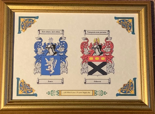 framed anniversary bond with two family crests and wedding date