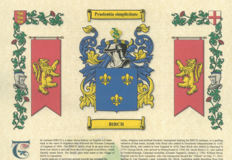 Birch family coat of arms and motto
