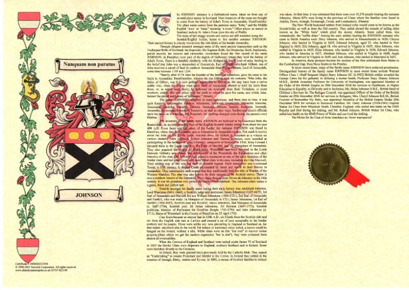 A History of Your Name With Coat of Arms (A3) Landscape
