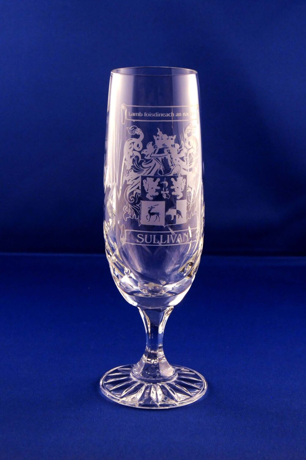 champagne flute with family crest