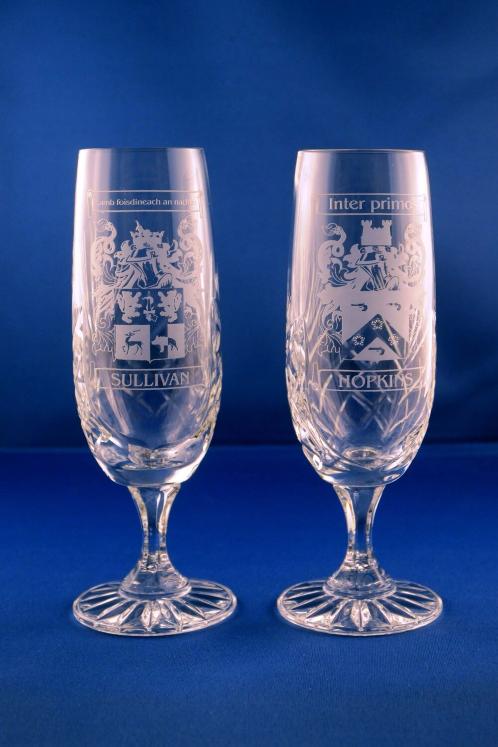 champagne flutes with family crest