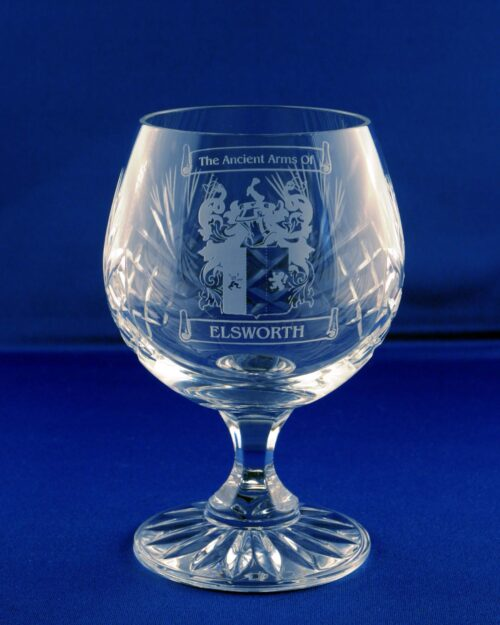 brandy glass with family crest