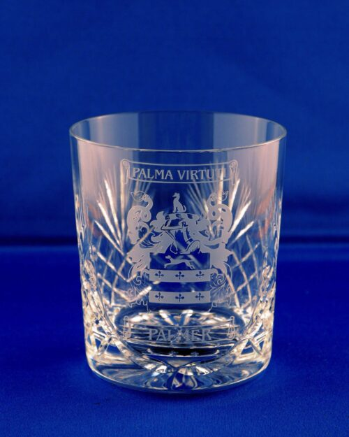 Durham whisky glass with family crest